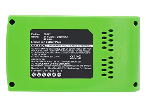 Synergy Digital Battery Compatible GreenWorks 10-Inch Cordless Chainsaw 2036 Power Tool Battery (Li-Ion, 24V, 2000 mAh) - Repl. GreenWorks 293222984229852 Battery