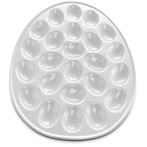 (KooK Deviled Egg Dish, White Porcelain, 13 Inch, Holds 24 Eggs.)