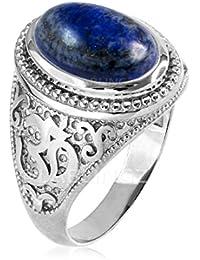 Sterling Silver Om (Aum) Lapis Lazuli Yoga Ring