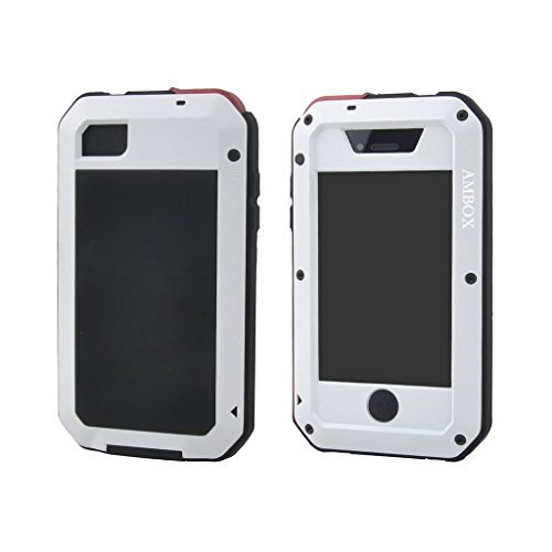 iPhone 4 Case, Ambox Waterproof Shockproof Dust/Dirt Proof Aluminum Metal Military Heavy Duty Protection Cover Case for Apple iPhone 4 4S (White/Black/Gold)