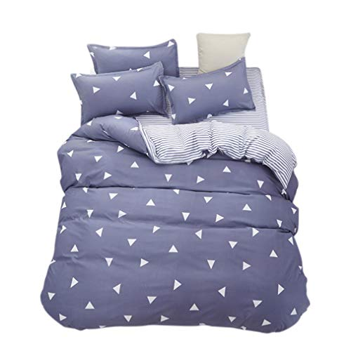 ughome Bedding Queen Duvet Cover Set, Blue Gray & Triangles Striped Duvet Cover,Contrast 2 Tone Reversible Comforter Cover with 4 Ties Best Style for Men Women