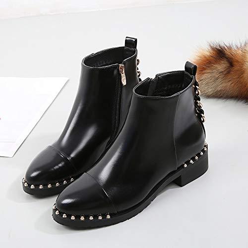 Viernes Negro JiaMeng Botas de Gamuza de Mujer de Moda Botas Zapatos Planos con Remaches Boots Botines de Cuero Zapatos con Cremallera con Punta Redonda: ...