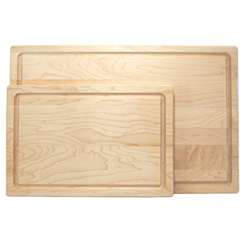 KitchenTalent Maple Cutting Board Set - Large and Small Maple Hardwood Chopping Boards With Juice Groove - 11 x 17 x .75-8 x 12 x .75 - Solid Wood Butcher Block - Great Gift Idea ()