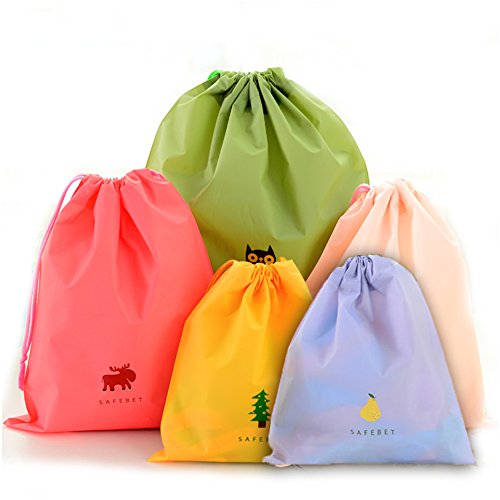 BINGONE Set of 5 Waterproof Drawstring Bag PE