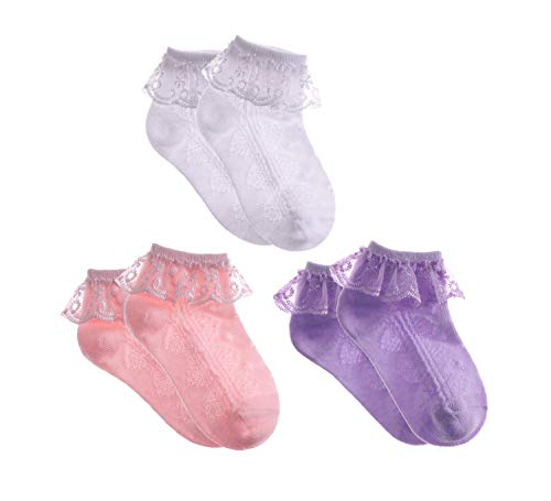 (MSMETRO Newborn Infant Toddlers Kids Little Girls Eyelet Lace Ruffle Frilly Mesh Socks Ankle Cotton Socks for 0-8T (XL / 6-8 Years, 3 Pack White/Pink/Purple))