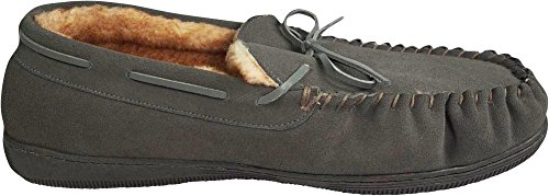 NORTY Mens Genuine Leather Cowhide Suede Slippers - Moccasin Slip On Loafer - Lux Plush Fur Lining Grey 1O1iwwx