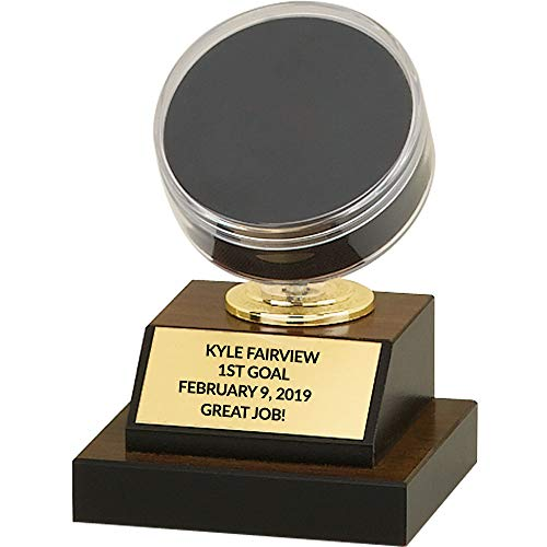 Hockey Puck Display Trophy - 6 inch with Free Laser Engraving
