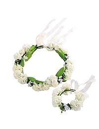 Idalinya Baby Headband Exquisite Children Flower Headband Hair Wrist Flower Accessory Photography Props(White)