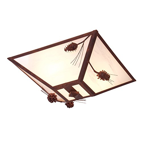 - Steel Partners Lighting 2565-MB-WM Drop Ceiling Mount - Ponderosa Pine with Mountain Brown Finish and White Mica Lens