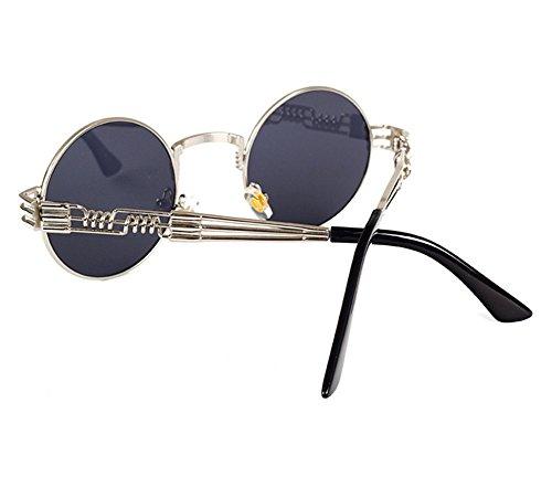 marco de de sol Gris redondo Plata Steampunk metal de Gafas gafas conducción retro hippy x40nvw5XqA