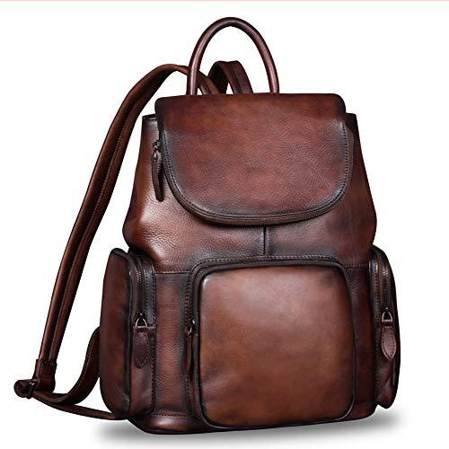 Leather Backpack for Women Vintage Handmade Casual Rucksack Satchel (Coffee)