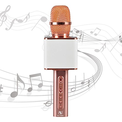 SU·YOSD Karaoke Microphone Bluetooth YS-10 Karaoke Microphone Wireless USB Karaoke Microphone Real 2200MAH TF Record Support Compatible IOS Iphone Android Smartphone PC laptop by (White Rose) by SU·YOSD