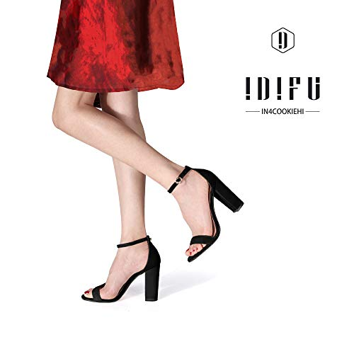 IDIFU Women's IN4 Cookie-HI Chunky Block High Heel Open Toe Ankle Strap Dress Party Wedding Pump Sandals