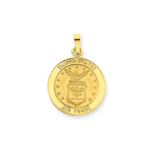 Pendants Career and Profession Charms 14K Yellow Gold U.S. Air Force Insignia Disc Charm Pendant (Air Force Insignia Pendant)