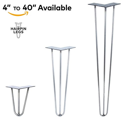 3 Rod Hairpin Legs - Made in The USA - Commerical Grade - Each Leg Sold Separately (17'' Height x 1/2'' Diameter, Jet Black Satin) by DIY Hairpin Legs