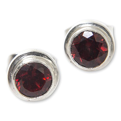 NOVICA Round Garnet and .925 Sterling Silver Stud Earrings, Red Simplicity' (.6 ()