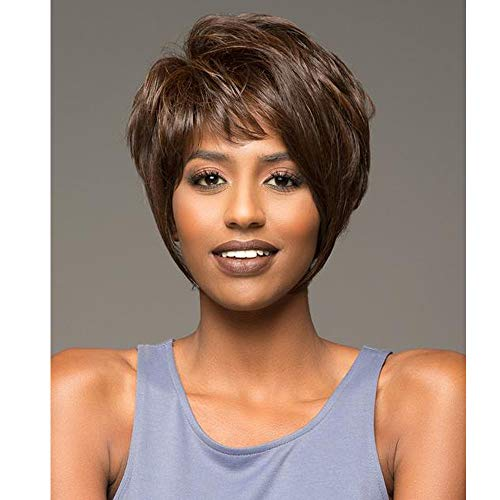 KUNMEI Dark Brown Wigs for Women Short Bob Hair Wigs with Bangs African American Wig Heat Resistant Synthetic Fashion Wigs with Wig Cap 100g (Dark Brown) CM033 ()
