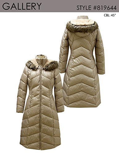 Gallery Women's Casual Full Length Zip Puffer Coat with Removable Hood