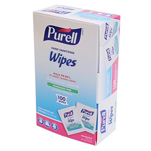 Antimicrobial Hand Sanitizer Wipes - PURELL 902210CT Sanitizing Hand Wipes, 5w x 7l, Individually Wrapped, Box of 100 (Case of 10 Boxes)
