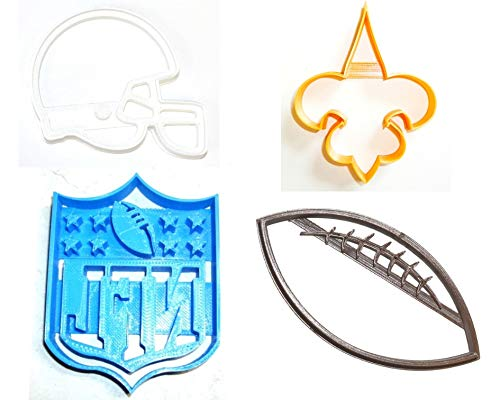 NEW ORLEANS SAINTS NFL FOOTBALL LOGO HELMET SET OF 4 SPECIAL OCCASION COOKIE CUTTERS BAKING TOOL 3D PRINTED MADE IN USA PR1125