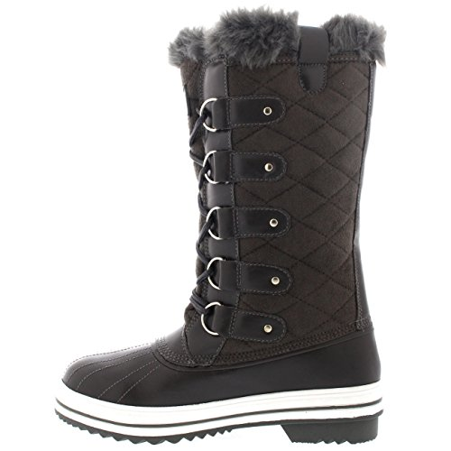 GRS38 Fur Winter Boot Waterproof Quilted Lined 7 Boot Snow YC0007 Warm Snow Womens Tall Rain aqUOI0w