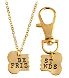 2pcs Friendship Jewelry Dog Bone Best Friends Charm Necklace Keychain BFF Bones Design
