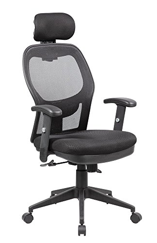 Anji Modern Furniture 8018-BK Fully Adjustable Mesh Office Computer Chair with Adjustable Lumbar Support, Armrests, Headrest and Multi-Position Recline Control, Black Wheels