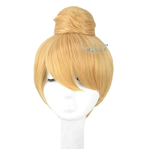 [Angelaicos Women's Prestyled Buns Party Anime Cosplay Costume Wig Short Blonde] (Belle Halloween Costumes For Women)