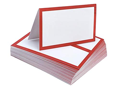 Tented Place Cards - 50 pack - Folded Place Cards are ideal as Wedding Place Cards, Buffet food label, Banquet tables, Cocktail Parties, and Much More!. Made of 14 pt. Matte Card Stock.