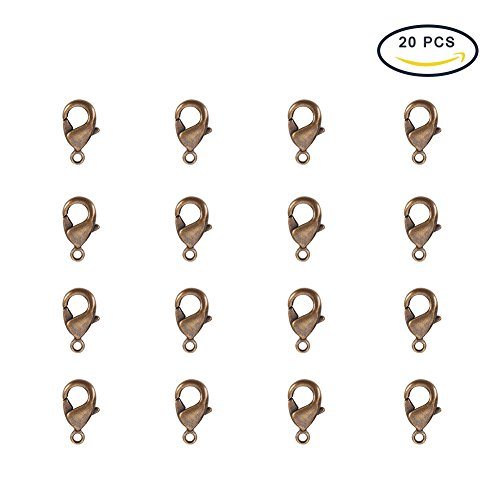 PandaHall Elite Nickle Free Brass Lobster Claw Clasps Size 10x5x3mm for Jewelry Making Findings Value Pack 20pcs/bag Antique - Brass Diy