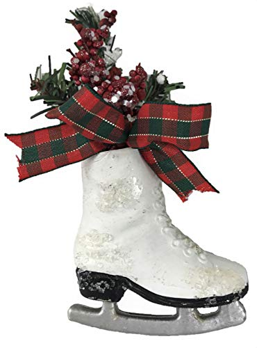 Winter Holiday Ice Skate Ornament with Berries and Bow