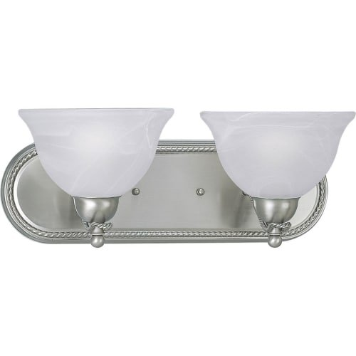 Progress Lighting P3267-09 2-Light Bath Bracket with Swirled Alabaster Glass, Brushed Nickel 2 Light Avalon Bath