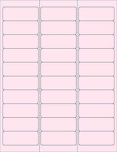 (6 SHEETS) 180 1'x2-5/8' BLANK PINK ADDRESS Stickers for Inkjet & Laser Printers. Size: 8-1/2'x11' Standard Sheets