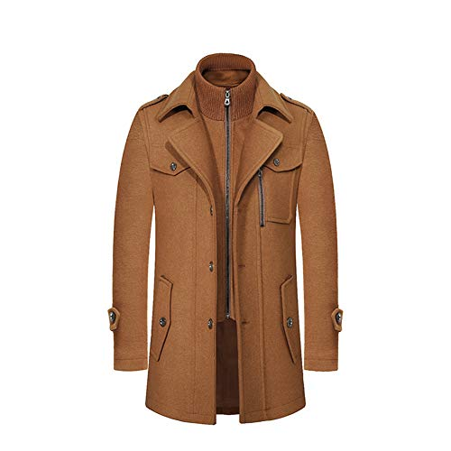 Flocean Men's Wool Blend Jacket Stand Collar Windproof Pea Coat-Brown-2XL -