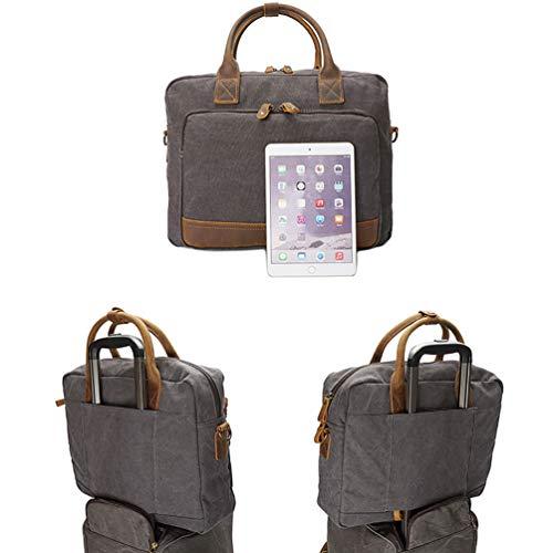 Millésime Portable Grey D'affaires De Hommes Sac Main D'ordinateur D'épaule Mallette wg Travail Toile Fs À CqHnRqw