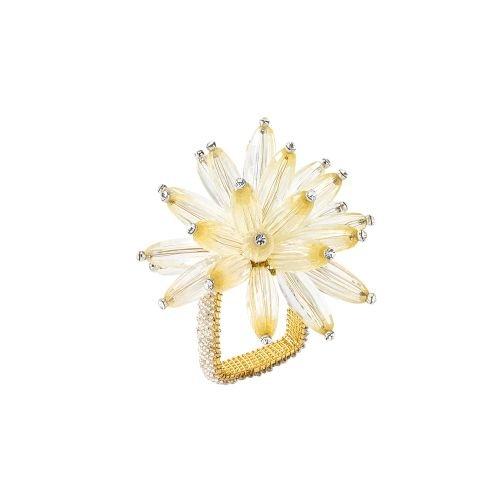 Kim Seybert Constellation Napkin Ring in Champagne, Set of 4