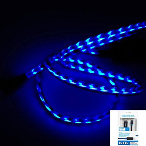 IMZ® Black Blue Visible Flowing LED EL Light Micro USB Sync Data Charging Charger Cable for Samsung Galaxy S6/S6 Edge/S4/S3/S/i9500, Note/5/4/2, Epic 4G Touch, Skyrocket, Galaxy Attain, Google Nexus, HTC ONE M9/M8/M7 Max X, One Plus One/1+1 and More Android Smart Phones - [MBB]