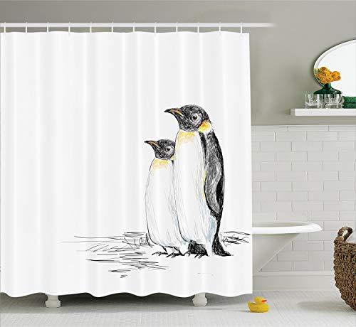 Ambesonne Black and White Shower Curtain Sea Animals Decor, Hand Drawn Style Art Penguins Aquatic Flightless Birds Polar South Pole Wildlife, Fabric Bathroom Curtain Set with Hooks, Black White