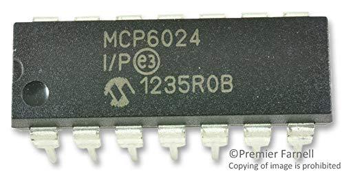 MCP6024-I/P - Operational Amplifier, Quad, 4 Amplifier, 10 MHz, 7 V/?s, 2.5V to 5.5V, DIP, 14 Pins (Pack of 20) (MCP6024-I/P)
