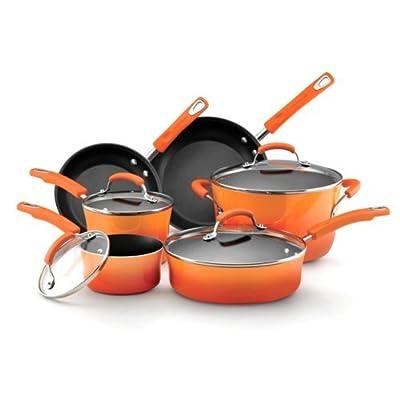 Food Network Cookware Set RACHAEL RAY Premium Nonstick Porcelain Enamel Cookware 10 Piece, Orange, Glass Lid