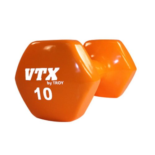 Troy Barbell VTX Premium Vinyl Dumbbell (10-Pounds, Orange ) Single Pack