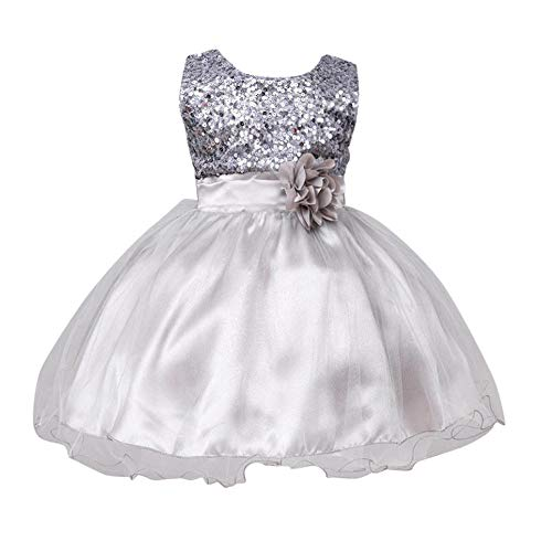 Gotd Infant Toddler Baby Girl Sequins Sleeveless Tutu Princess Dress Clothes Winter Outfits Christmas Holiday (6-12 Months, Silver)