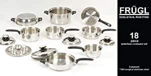 18 Pc Frügl Surgical Stainless Steel Cookware Set