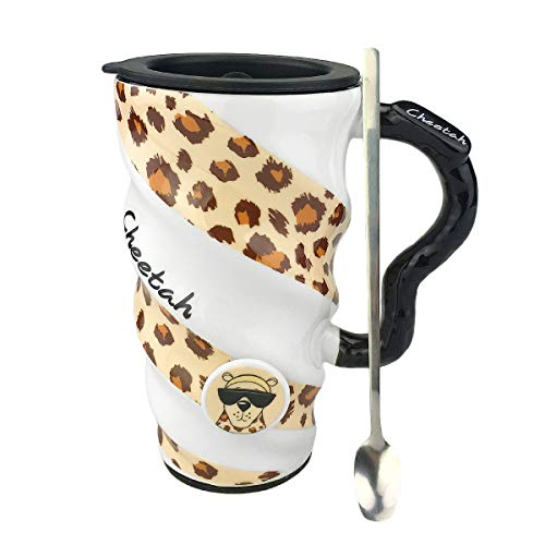Cool Colorful Marine & Prairie Animal Series Large Coffee Tea Mug, Lid & Stainless Steel Spoon with Ceramic Handle,Non-Slip Bottom, Wavy Body Skid-proof Design,18 oz(520 ml) - Mug Cheetah