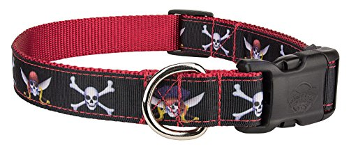 Country Brook Design Deluxe Jolly Roger Ribbon Dog Collar - Large