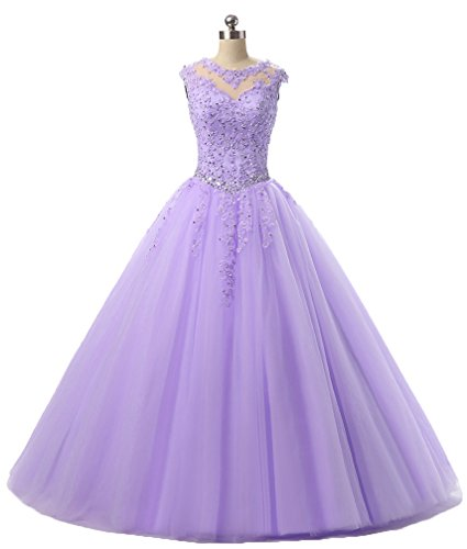 2018 Dresses Lilac Sequined Evening Gown Long HEIMO Prom H152 Dress Appliques Beading Lace Ball Quinceanera CwZqaZ