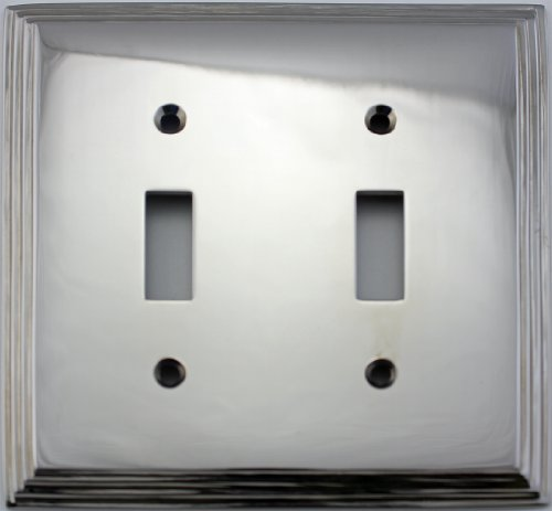 (Polished Nickel Deco Step Style 2 Gang Toggle Light Switch Wall Plate)