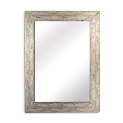 Raphael Rozen - Elegant - Modern - Classic - Vintage - Rustic - Hanging Framed Wall Mounted Mirror, Distressed Wood Finish, Gray - White Color (For White Bathrooms Framed Mirrors)