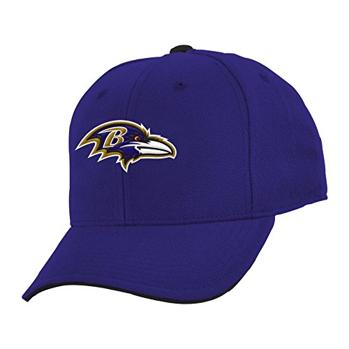 (Outerstuff NFL Youth Boys 8-20 Basic Structured Adjustable Hat-Rave Purple-1 Size, Baltimore Ravens)