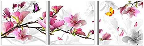 Bluelover 3Pcs Flor Combinación Pintura Pintura Al Óleo Impresa En Lienzo Lnicio Cuadro De Arte Decorativo